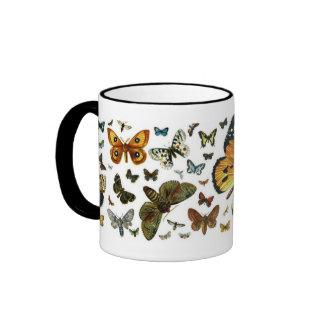 Señal anticuaria de la imagen de las mariposas taza de dos colores
