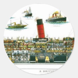 Señal británica histórica del revestimiento marino etiquetas redondas