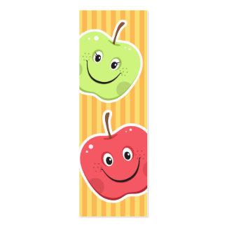 Señal Caracteres de la manzana del dibujo animado Plantillas De Tarjeta De Negocio