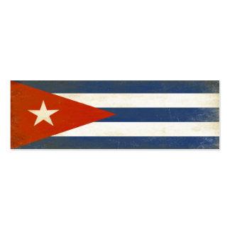 Señal con la bandera apenada del vintage de Cuba Tarjetas De Visita Mini