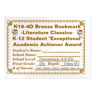 Señal de bronce de K16-4D - obras clásicas 100ct d Tarjetas Personales