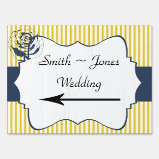 Señal de dirección amarilla azul moderna del boda