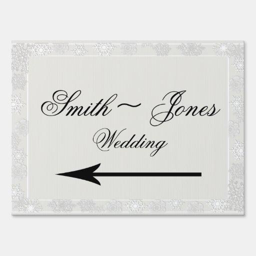 Señal de dirección de plata del boda del invierno