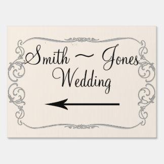Señal de dirección elegante del boda de la cala