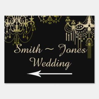 Señal de dirección elegante del boda de las