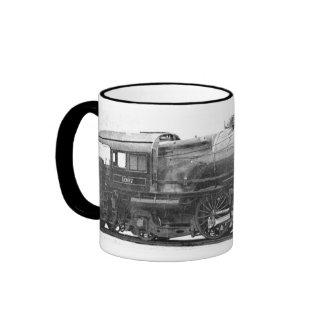 Señal de la fotografía del ferrocarril del vintage tazas de café