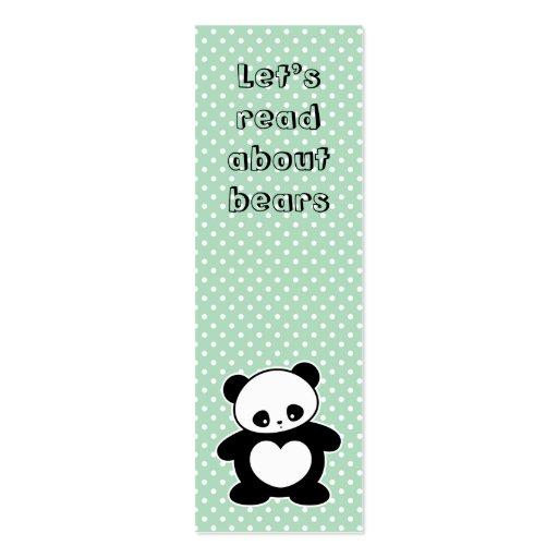 Señal de la panda de Kawaii Plantilla De Tarjeta De Negocio