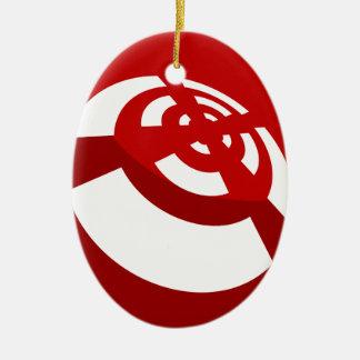 Señal de la radio del botón rojo adorno navideño ovalado de cerámica