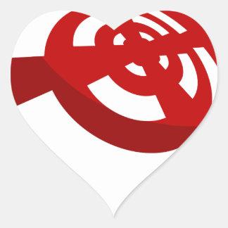 Señal de la radio del botón rojo pegatina en forma de corazón