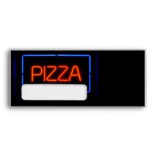Señal de neón azul y roja de la PIZZA
