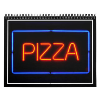 Señal de neón azul y roja de la PIZZA Calendario De Pared
