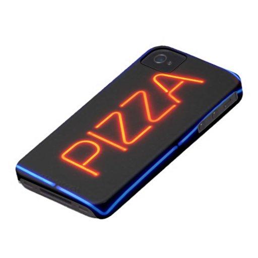 Señal de neón azul y roja de la PIZZA Case-Mate iPhone 4 Protectores