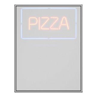 Señal de neón azul y roja de la PIZZA Membrete A Diseño