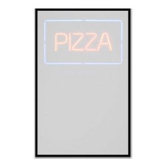 Señal de neón azul y roja de la PIZZA Personalized Stationery