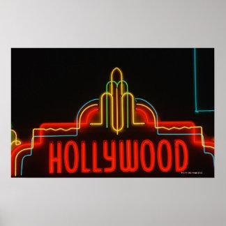 Señal de neón de Hollywood, Los Ángeles, Californi Póster