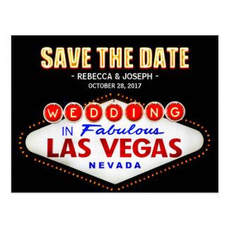 Señal de neón de Las Vegas - ahorre el boda de la Postal