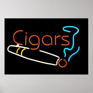Señal de neón de los cigarros póster