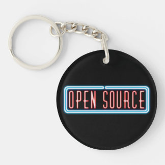 Señal de neón de Open Source Llavero Redondo Acrílico A Una Cara