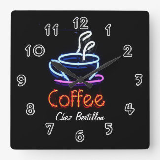 Señal de neón del café del café personalizada reloj cuadrado
