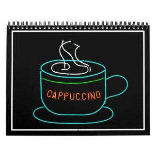 Señal de neón del Cappuccino Calendario