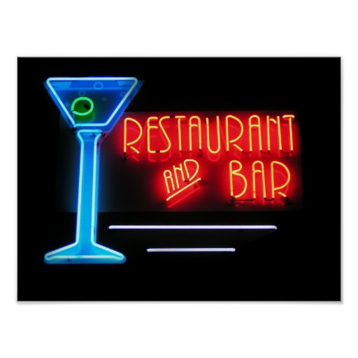 Señal de neón del restaurante y de la barra póster