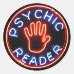 Señal de neón psíquica del lector etiquetas redondas