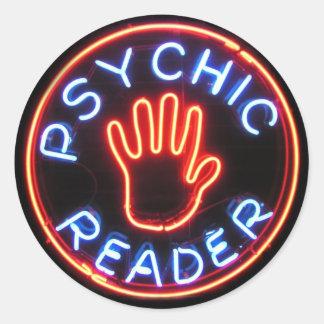 Señal de neón psíquica del lector pegatina redonda