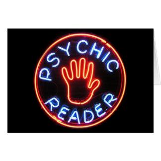 Señal de neón psíquica del lector tarjeta de felicitación