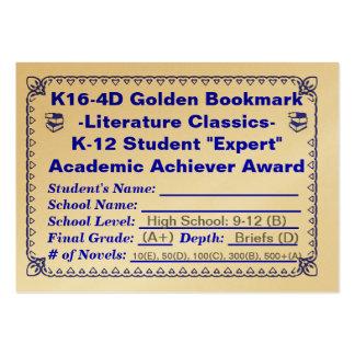 Señal de oro de K16-4D - literatura Classics-100ct Plantilla De Tarjeta De Negocio