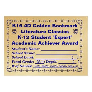 Señal de oro de K16-4D - obras clásicas 100ct de l Tarjetas Personales