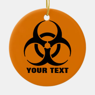 Señal de peligro anaranjada del símbolo del adorno navideño redondo de cerámica