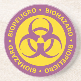 Señal de peligro bilingüe del Biohazard Posavasos Diseño