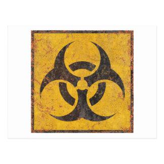 Señal de peligro biológica tarjetas postales