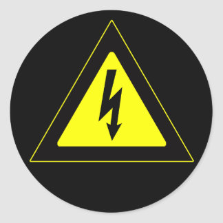 Señal de peligro de alto voltaje pegatina redonda