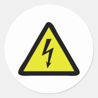 señal de peligro de destello eléctrica etiquetas redondas