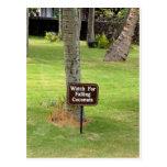Señal de peligro de Hawaii de los cocos Tarjeta Postal