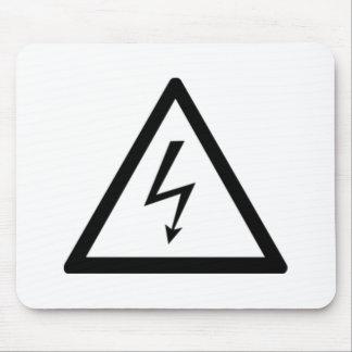 Señal de peligro de la electricidad alfombrilla de ratones