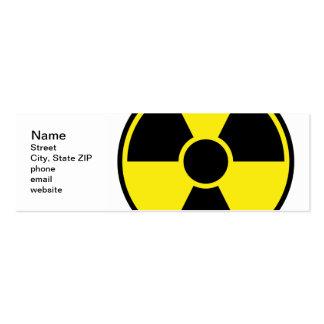 Señal de peligro de la radiación plantillas de tarjetas personales