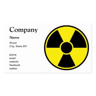 Señal de peligro de la radiación tarjetas personales