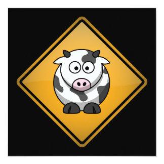 """Señal de peligro de la vaca del dibujo animado invitación 5.25"""" x 5.25"""""""