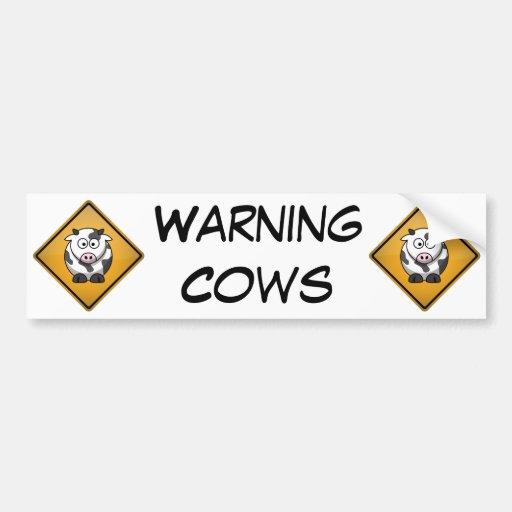 Señal de peligro de la vaca del dibujo animado pegatina para auto