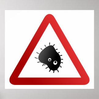 Señal de peligro de las bacterias impresiones