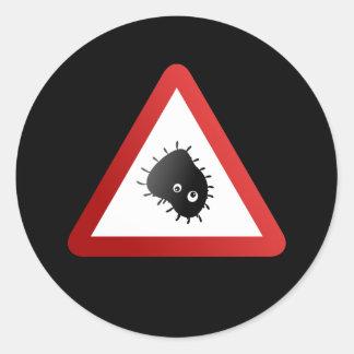 Señal de peligro de las bacterias pegatina redonda