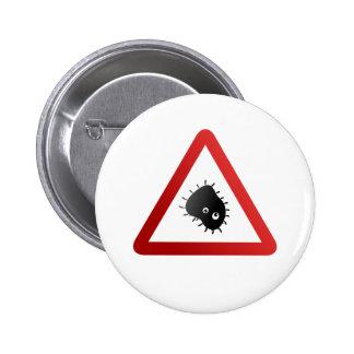 Señal de peligro de las bacterias pin redondo 5 cm