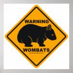 Señal de peligro de Wombat Impresiones