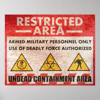 Señal de peligro del área restricta póster