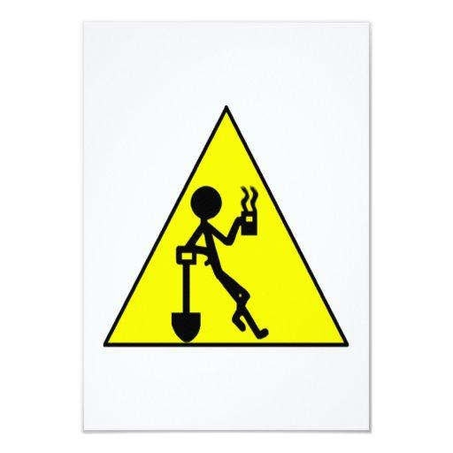 Señal de peligro del descanso para tomar café invitación 8,9 x 12,7 cm