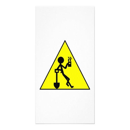 Señal de peligro del descanso para tomar café tarjetas fotográficas
