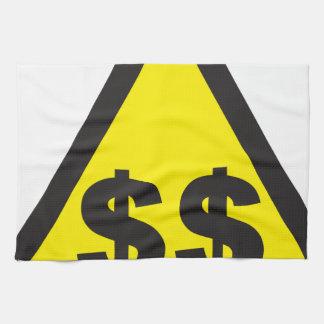 Señal de peligro del dólar toallas de mano