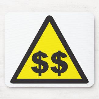 Señal de peligro del dólar tapetes de ratones